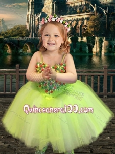 Most Popular Yellow Green Spaghetti Straps Little Girl Dress with Beading