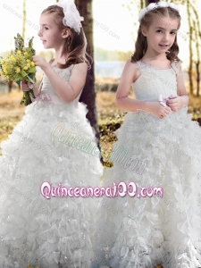 New Arrivals Ruffled and Bowknot White Flower Girl Dress with Straps
