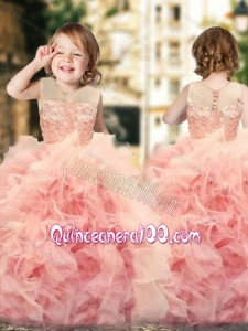 Wonderful Ruffled and Laced Little Girl Dress with See Through Scoop