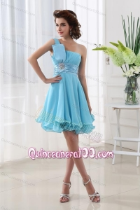A-line Aqua blue One Shoulder Beading and Ruching Chiffon Dama Dresses