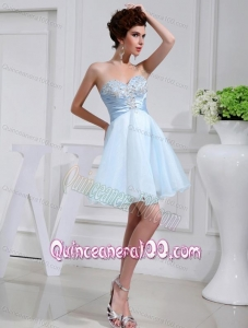 A-line Organza Aqqliques Strapless Light Blue Sweatheart Dama Dresses