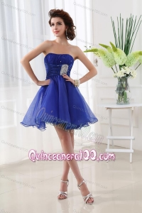 A-line Strapless Beading and Ruching Organza Dama Dresses in Blue