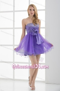 A-line Strapless Sleeveless Beading and Ruching Dama Dresses