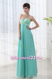 Empire Apple Green Sweetheart Backless Beading Dama Dress for Quinceanera