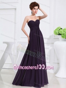 Empire Chiffon Ruching Strapless Dark purple Floor-length Dama Dresses