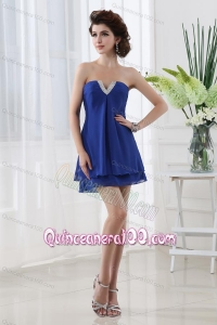 Empire Strapless Blue Mini-length Chiffon Dama Dresses with Beading