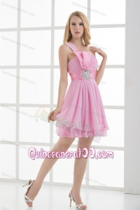 One Shoulder A-line Beading and Ruching Chiffon Dama Dresses