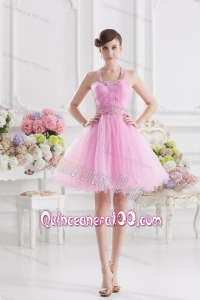 A-line Halter Top Pink Dresses for Dama with Ruching and Beading