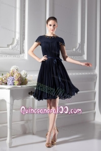 Bateau Knee-length A-line Cap Sleeves Dresses for Dama