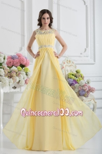 Empire Scoop Beading Ruching Light Yellow Dresses for Dama