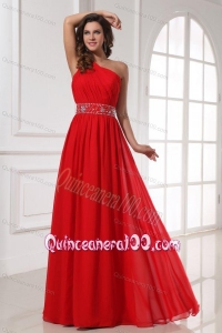 Red One Shoulder Beaded Decorate Waist Floor-length Dresses for Dama