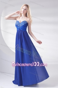 Royal Blue Sweetheart Beading and Ruching Dama Dresses with Long