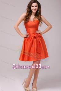 A-line Sweetheart Sashes Taffeta Orange Red Dresses for Dama