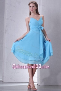 Aqua Blue A-line Spaghetti Straps Knee-length Dama Dresses with Sash