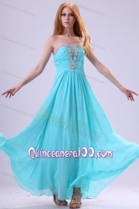 Aqua Blue Chiffon Strapless Empire Dama Dress for Quinceanera with Beading