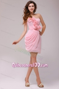 Column Hand Made Flowers Baby Pink Strapless Dresses for Dama