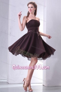 Elegant Brown Strapless Knee-length Dama Dress for Quinceanera with Sash and Ruching
