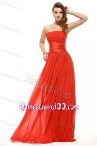 Empire Red Strapless Ruching Floor-length Dresses for Dama