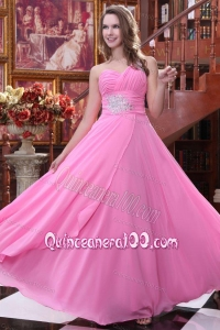 Empire Rose Pink One Shoulder Beading and Ruching ChiffDama Dress for Quinceanera