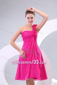 Hot Pink Hand Made Flowers and Ruching One Shoulder Dama Dresses
