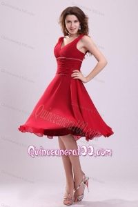 Popular A-line V-neck Dama Dress for Quinceanerain Wine Red with Knee-length