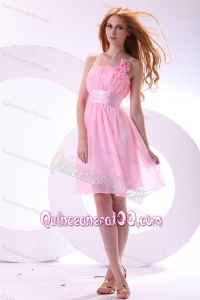 Pretty A-line Straps Pink High-low Chiffon Ruching Dama Dress for Quinceanera