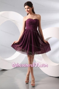 Purple Ruching Short Dama Dresses with Knee-length