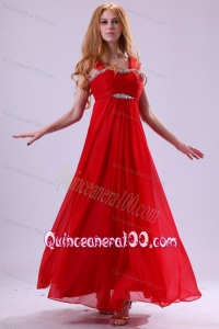 Red Empire Beading Straps Ankle-length Chiffon Dama Dress for Quinceanera