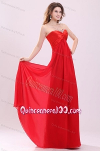Red Empire Sweetheart Beading Floor length Chiffon Dresses for Dama