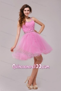 Rose Pink Halter Top Beading and Ruching Dresses for Dama