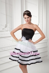 White and Black A-line Strapless Mini-length Organza Dama Dress for Quinceanera with Ruffled Layers