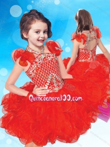 Exclusive Beaded and Ruffled Halter Top Little Girl Pageant Dress with Criss Cross