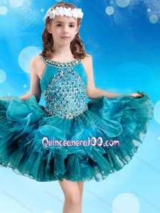 Popular Beaded Decorated Scoop Teal Little Girl Pageant Dress in Organza