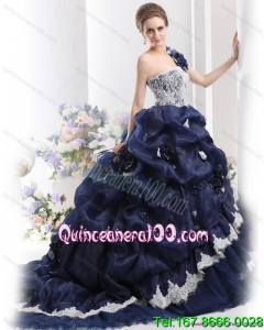 Traditional 2015 One Shoulder Ruffles Quinceanera Dresses with Hand Made Flowers and Pick Ups