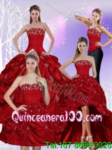 Detachable 2015 Floor Length Strapless Sweet 16 Dress with Embroidery and Pick Ups