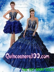 Detachable Navy Blue Sweetheart Quinceanera Dress with Ruffles and Embroidery