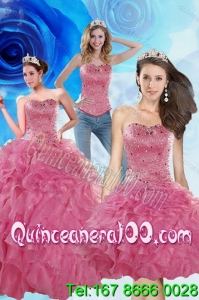 2015 Coral Red Spring Quinceanera Dresses with Beading and Ruffles