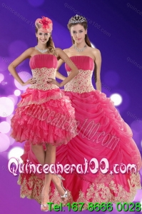 Detachable 2015 Exquisite Hot Pink Quinceanera Dresses with Beading and Lace