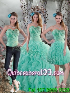 Detachable 2015 New Style Aqua Blue Quinceanera Dresses with Beading and Ruffles