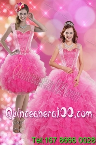 Detachable 2015 Wonderful Hot Pink Quinceanera Dresses with Beading and Ruffles