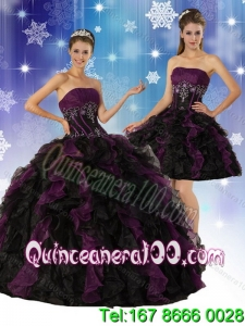 2015 Elegant and Most Popular Strapless Multi Color Quinceanera Dress with Ruffles and Embroidery