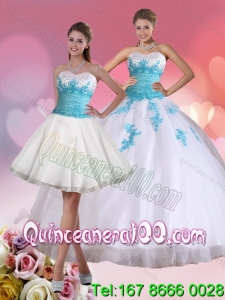 2015 Most Popular Beaded Sweetheart Quinceanera Dress in White and Blue