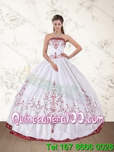 2015 Most Popular Strapless Floor Length Quinceanera Dress in White and Red
