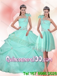 2015 New Arrival Apple Green Quinceanera Dress with Appliques