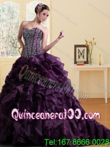2015 New Arrival Sweetheart Burgundy Quinceanera Dress with Ruffles and Beading