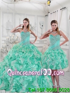 Detachable 2015 Pretty Sweetheart Quinceanera Dresses in Apple Green with Ruffles and Beading