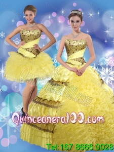 Detachable 2015 Strapless Yellow Quinceanera Dresses with Beading and Ruffles