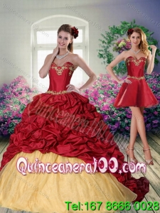 Detachable 2015 Sweetheart Wine Red Brush Train Quinceanera Dress with Beading