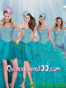 Detachable and Elegant Turquoise Sweetheart 2015 Quinceanera Dresses with Beading
