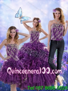 Elegant Purple Strapless Quince Dresses with Appliques and Ruffles for 2015